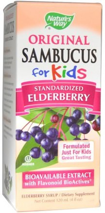 Original Sambucus for Kids, Standardized Elderberry, 4 fl oz (120 ml) by Natures Way-Hälsa, Kall Influensa Och Virus, Immunförsvar