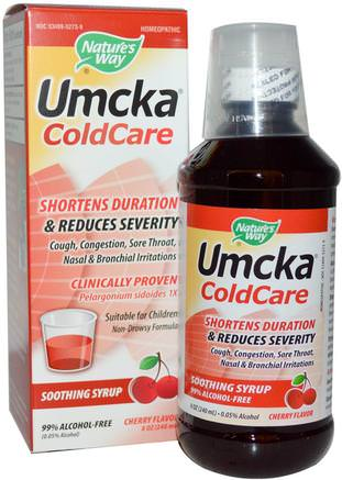 Umcka, ColdCare, Soothing Syrup, Cherry Flavor, 8 oz (240 ml) by Natures Way-Kosttillskott, Hälsa, Kall Influensa Och Virus