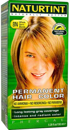 Permanent Hair Color, 8N Wheat Germ Blonde, 5.28 fl oz (150 ml) by Naturtint-Bad, Skönhet, Hår, Hårbotten, Hårfärg
