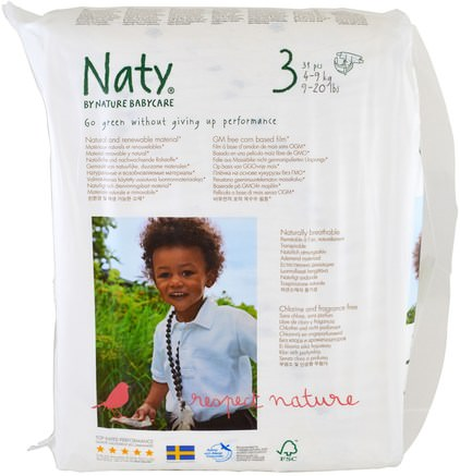 Diapers, Size 3, 9-20 lbs (4-9 kg), 31 Diapers by Naty-Barns Hälsa, Diapering