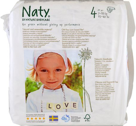 Diapers, Size 4, 15-40 lbs (7-18 kg), 31 Diapers by Naty-Barns Hälsa, Diapering
