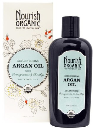 3.4 oz (101 ml) by Nourish Organic Replenishing Argan Oil with Pomegranate and Rosehip-Bad, Skönhet, Arganolja, Omega Bad