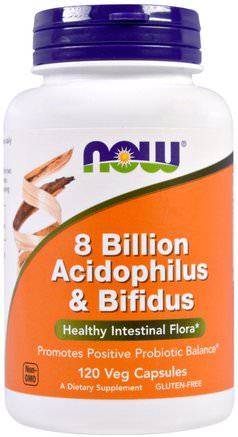 8 Billion Acidophilus & Bifidus, 120 Veggie Caps by Now Foods-Kosttillskott, Probiotika, Acidophilus