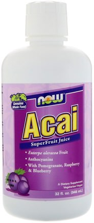 Acai SuperFruit Juice, 32 fl oz (946 ml) by Now Foods-Mat, Kaffe Te Och Drycker, Fruktjuicer, Tillskott, Acai Berry Juice Extrakt