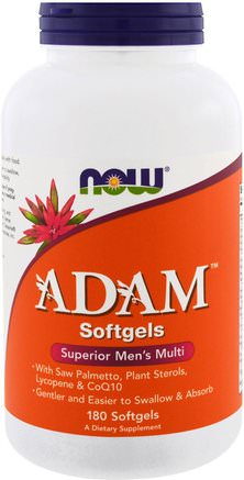 ADAM, Superior Mens Multi, 180 Softgels by Now Foods-Vitaminer, Män Multivitaminer