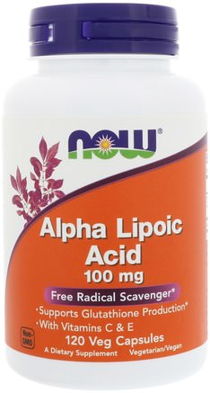 Alpha Lipoic Acid, 100 mg, 120 Veg Capsules by Now Foods-Kosttillskott, Antioxidanter, Alfapoidsyra, Alfa Liposyra 100 Mg