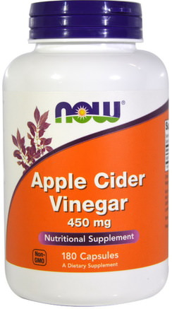 Apple Cider Vinegar, 450 mg, 180 Capsules by Now Foods-Kosttillskott, Äppelcidervinäger