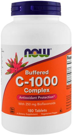 Buffered C-1000 Complex, 180 Tablets by Now Foods-Vitaminer, Vitamin C, Vitamin C Buffrad