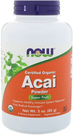 Certified Organic Acai Powder, 3 oz (85 g) by Now Foods-Kosttillskott, Antioxidanter, Frukt Extrakt, Super Frukter, Acai Berry Juice Extrakt