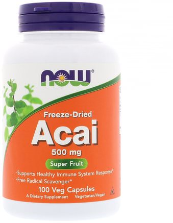 Freeze-Dried Acai, 500 mg, 100 Veg Capsules by Now Foods-Kosttillskott, Antioxidanter, Frukt Extrakt, Super Frukter, Acai Berry Juice Extrakt