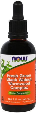 Fresh Green Black Walnut Wormwood Complex, 2 fl oz (60 ml) by Now Foods-Örter, Svart Valnöt, Artemisia Malurt
