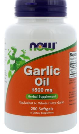 Garlic Oil, 1.500 mg, 250 Softgels by Now Foods-Kosttillskott, Antibiotika, Vitlökolja