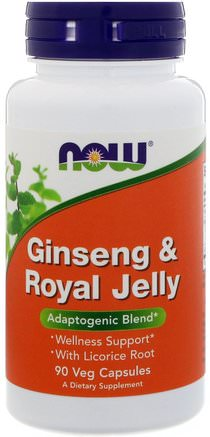 Ginseng & Royal Jelly, 90 Veg Capsules by Now Foods-Kosttillskott, Biprodukter, Adaptogen