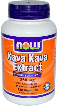 Kava Kava Extract, 250 mg, 120 Veg Capsules by Now Foods-Örter, Kava Kava, Hälsa, Ångest