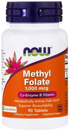 Methyl Folate, 1.000 mcg, 90 Tablets by Now Foods-Vitaminer, Folsyra, 5-Mthf Folat (5 Metyltetrahydrofolat)