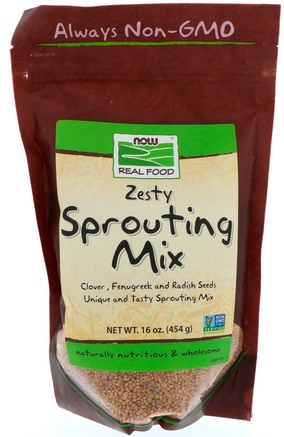 Real Food, Zesty Sprouting Mix, 16 oz (454 g) by Now Foods-Mat, Nötter Frön Korn, Alfalfa Frön