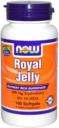 Royal Jelly, 300 mg, 100 Softgels by Now Foods-Kosttillskott, Biprodukter, Royal Gelé