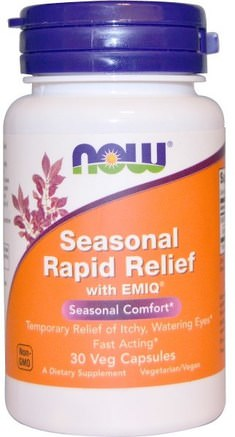 Seasonal Rapid Relief, With EMIQ, 30 Veggie Caps by Now Foods-Hälsa, Allergier, Allergi