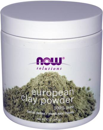 Solutions, European Clay Powder, Facial Detox, 6 oz (170 g) by Now Foods-Hälsa, Detox, Lera, Skönhet, Ansiktsvård, Hud
