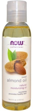 Solutions, Sweet Almond Oil, 4 fl oz (118 ml) by Now Foods-Hälsa, Hud, Mandelolja, Massageolja