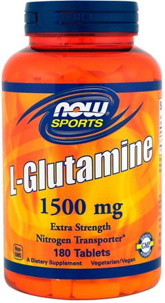 Sports, L-Glutamine, 1.500 mg, 180 Tablets by Now Foods-Kosttillskott, Aminosyror, L Glutamin, L-Glutamintabletter