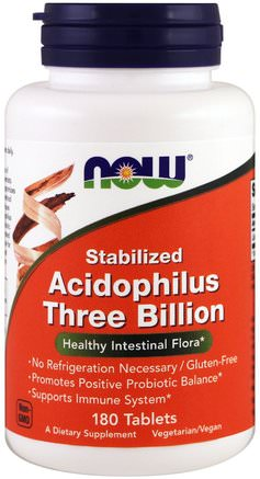 Stabilized Acidophilus Three Billion, 180 Tablets by Now Foods-Kosttillskott, Probiotika, Acidophilus