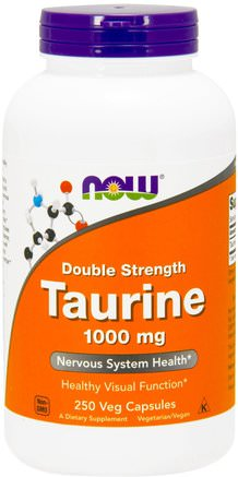 Taurine, Double Strength, 1.000 mg, 250 Veg Capsules by Now Foods-Kosttillskott, Aminosyror, Taurin