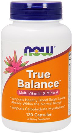 True Balance, Multi Vitamin & Mineral, 120 Capsules by Now Foods-Hälsa, Blodsocker