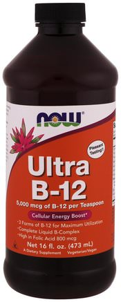 Ultra B-12, 5.000 mcg, 16 fl oz (473 ml) by Now Foods-Vitaminer, Vitamin B