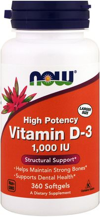 Vitamin D-3, 1.000 IU, 360 Softgels by Now Foods-Vitaminer, Vitamin D3