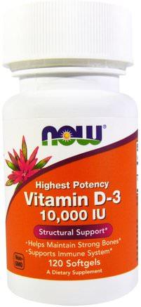 Vitamin D-3, 10.000 IU, 120 Softgels by Now Foods-Vitaminer, Vitamin D3