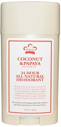 24 Hour All Natural Deodorant, Coconut & Papaya with Vanilla Oil, 2.25 oz (64 g) by Nubian Heritage-Bad, Skönhet, Deodorant