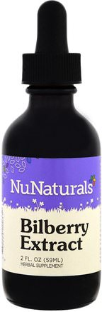 Bilberry Extract, 2 fl oz (59 ml) by NuNaturals-Hälsa, Ögonvård, Synvård, Blåbär