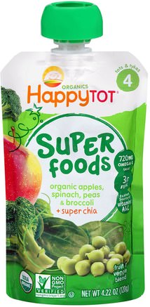 Happytot, Organic Superfoods, Apples, Spinach Peas & Broccoli + Super Chia, 4.22 oz (120 g) by Nurture (Happy Baby)-Barns Hälsa, Babyfodring, Mat, Barnmat