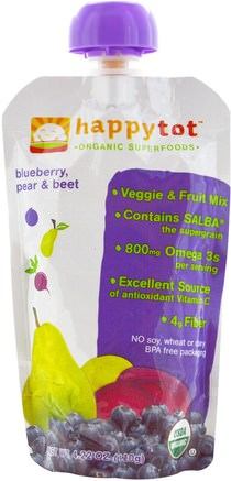 Happytot, Organic Superfoods, Blueberry, Pear & Beet, 4.22 oz (120 g) by Nurture (Happy Baby)-Barns Hälsa, Babyfodring, Mat, Barnmat