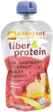 Happytot, Organic Superfoods, Fiber & Protein, Pear, Raspberry, Butternut Squash & Carrot, 4 oz (113 g) by Nurture (Happy Baby)-Barns Hälsa, Babyfodring, Mat, Barnmat