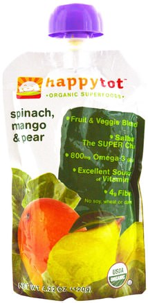 Happytot, Organic SuperFoods, Spinach, Mango & Pear, 4.22 oz (120 g) by Nurture (Happy Baby)-Barns Hälsa, Babyfodring, Mat, Barnmat