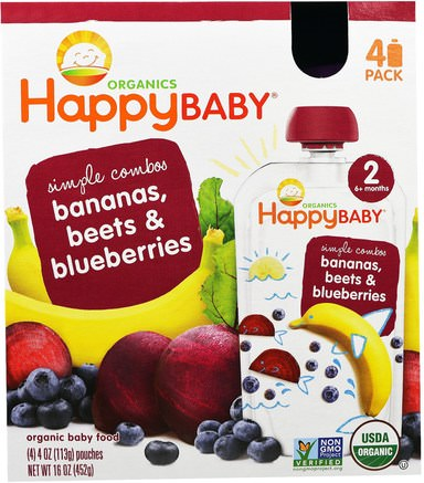 Organic Baby Food, Stage 2, Simple Combos, Bananas, Beets & Blueberries, 4 Pouches - 4 oz (113 g) Each by Nurture (Happy Baby)-Barns Hälsa, Barnmat