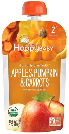 Organic Baby Food, Stage 2, Clearly Crafted, Apples, Pumpkin & Carrots, 6+ Months, 4 oz (113 g) by Nurture (Happy Baby)-Barns Hälsa, Babyfodring, Mat, Barnmat