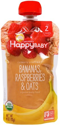 Organic Baby Food, Stage 2, Clearly Crafted, Bananas, Raspberries & Oats, 6+ Months, 4 oz (113 g) by Nurture (Happy Baby)-Barns Hälsa, Babyfodring, Mat, Barnmat