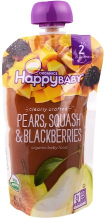 Organic Baby Food, Stage 2, Clearly Crafted, Pears, Squash & Blackberries, 6+ Months, 4.0 oz (113 g) by Nurture (Happy Baby)-Barns Hälsa, Babyfodring, Mat, Barnmat