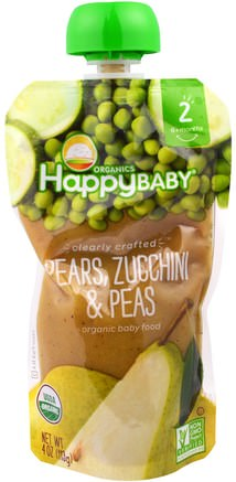 Organic Baby Food, Stage 2, Clearly Crafted, Pears, Zucchini & Peas, 6+ Months, 4.0 oz (113 g) by Nurture (Happy Baby)-Barns Hälsa, Babyfodring, Mat, Barnmat