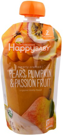 Organic Baby Food, Stage 2, Clearly Crafted, 6+ Months, Pears, Pumpkin, & Passion Fruit, 4.0 oz (113 g) by Nurture (Happy Baby)-Barns Hälsa, Babyfodring, Mat, Barnmat