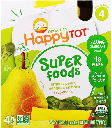 Organic HappyTot, Superfoods, Organic Pears, Mango & Spinach + Super Chia, Stage 4, 4 Pack, 4.22 oz (120 g) Each by Nurture (Happy Baby)-Barns Hälsa, Barnmat