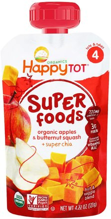 Organic Superfoods, Apples & Butternut Squash + Super Chia, 4.22 oz (120 g) by Nurture (Happy Baby)-Barns Hälsa, Babyfodring, Mat, Barnmat