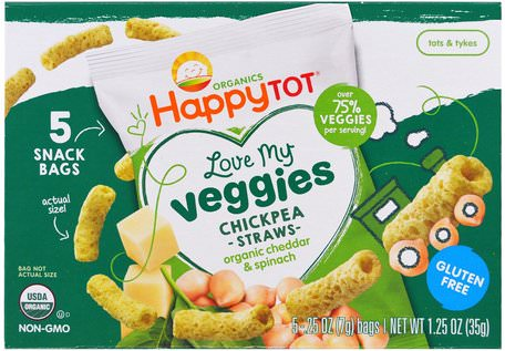 Organics Happy Tot, Love My Veggies, Chickpea Straws Snack Bags, Organic Cheddar & Spinach, 5 Bags, 0.25 oz (7 g) Each by Nurture (Happy Baby)-Barns Hälsa, Babyfodring, Baby Snacks Och Fingermat