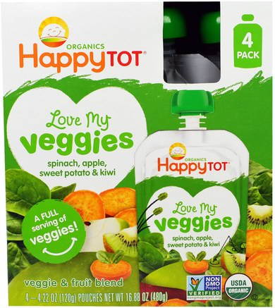 Organics Happy Tot, Love My Veggies, Spinach, Apple, Sweet Potato & Kiwi, 4 Pouches - 4.22 oz (120 g) Each by Nurture (Happy Baby)-Barns Hälsa, Barnmat