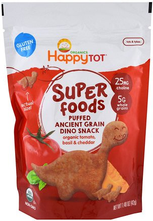 Organics Happy Tot, Superfoods, Puffed Ancient Grain Dino Snack, Organic Tomato, Basil & Cheddar, 1.48 oz (42 g) by Nurture (Happy Baby)-Barns Hälsa, Babyfodring, Baby Snacks Och Fingermat