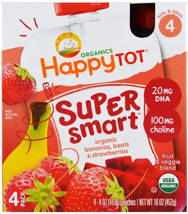 Organics Happy Tot, Stage 4, Super Smart, Fruit & Veggie Blend, Organic Bananas, Beets & Strawberries, 4 Pouches, 4 oz (113 g) Each by Nurture (Happy Baby)-Barns Hälsa, Babyfodring, Baby Snacks Och Fingermat