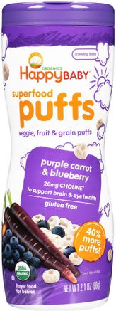 Organics, Superfood Puffs, Purple Carrot & Blueberry, 2.1 oz (60 g) by Nurture (Happy Baby)-Barns Hälsa, Babyfodring, Baby Snacks Och Fingermat, Barnmat